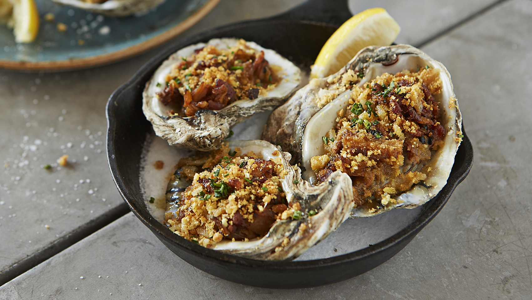 charbroiled oysters caramelized fennel, absinthe, smoked bacon, parmesan bread crumb